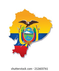 map of ecuador with the image of the national flag