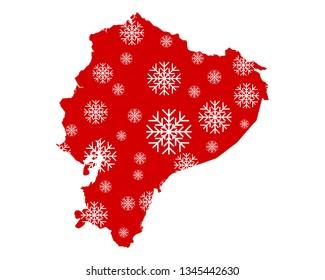 Map of Ecuador with snowflakes