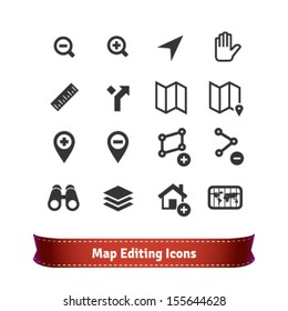 Map Editing Icon Set for Mapping Web Services