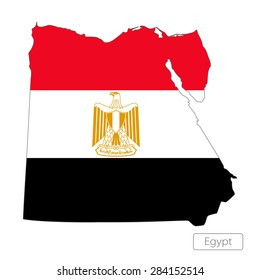 Map of Egypt with an official flag. Illustration on white background