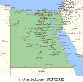 Map of Egypt. Shows country borders, urban areas, place names and roads. Labels in English where possible.Projection: Mercator.