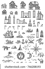 Map elements illustration, drawing, engraving, ink, line art, vector