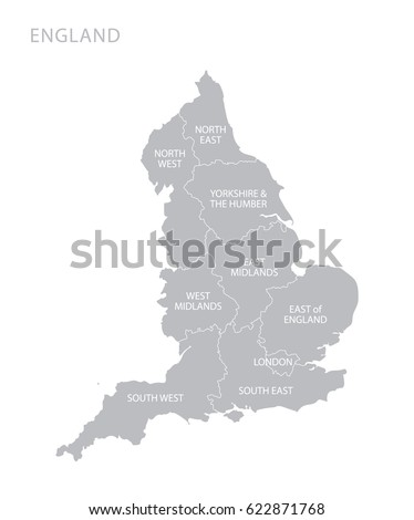 Map Of England With Counties.Map England Counties Uk Stock Vector Royalty Free 622871768