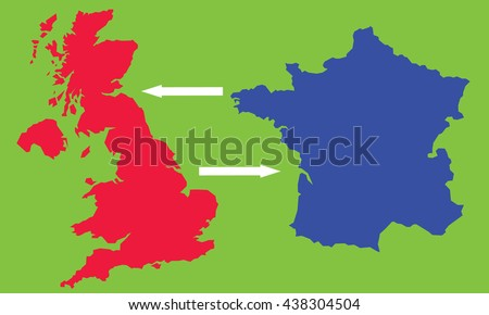 Map England France Stock Vector (Royalty Free) 438304504 - Shutterstock