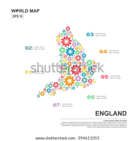 Map Of England Template.Map England Infographic Design Template Gear Stock Vector Royalty