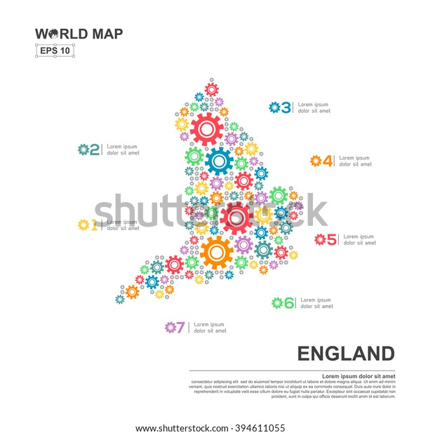 Map Of England Template.Map England Infographic Design Template Gear Stock Image
