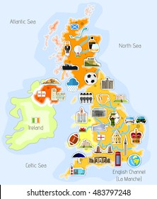 Map of England with landmarks - vector illustration