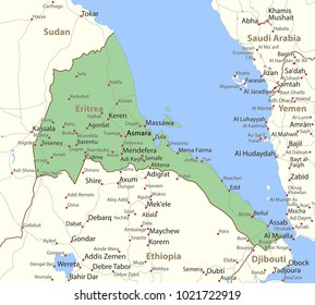 Map of Eritrea. Shows country borders, urban areas, place names and roads. Labels in English where possible.Projection: Mercator.