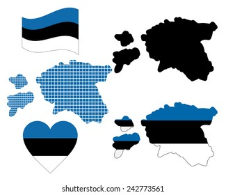 Map of Estonia of different colors on a white background