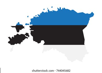 Map of Estonia with Flag on white background