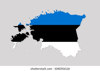 map of estonia with flag,vector illustration