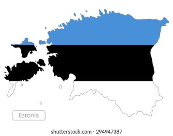 Map of Estonia with an official flag. Illustration on white background