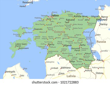 Map of Estonia. Shows country borders, urban areas, place names and roads. Labels in English where possible.Projection: Mercator.