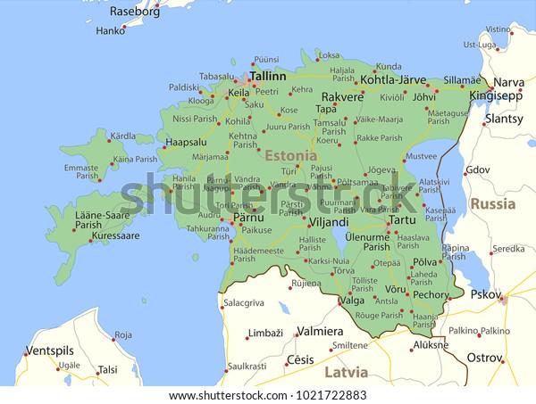 Map Estonia Shows Country Borders Urban Stock Vector ...