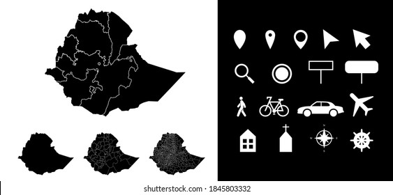 Map of Ethiopia administrative regions departments with icons. Map location pin, arrow, looking glass, signboard, man, bicycle, car, airplane, house. Royalty free outline Ethiopian vector map.