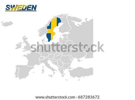 Map Eu Map Europe Sweden Flag Stock Vector Royalty Free 687283672