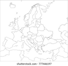 White Map Of Europe.Europe White Contour Vector Political Map Stock Vector Royalty Free