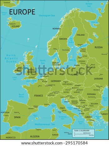 Latitude Map Of Europe.Map Europe All Country Names Capital Stock Vector Royalty Free