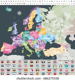 map of Europe colored by countries with regions borders. Flags of all european countries. Navigation, location and travel icons. All elements separated in labeled and detached layers. Vector
