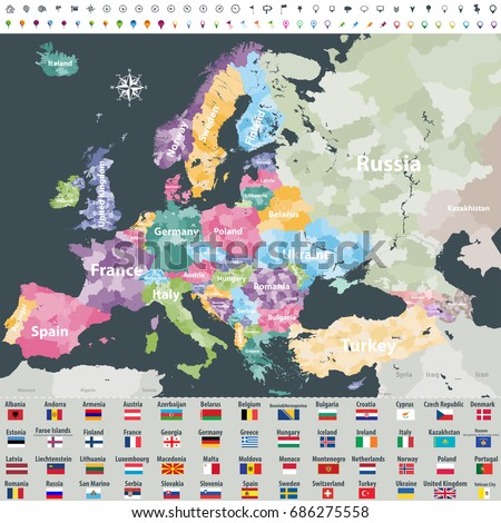 Map Europe Colored By Countries Regions Stock Vector (Royalty Free ...