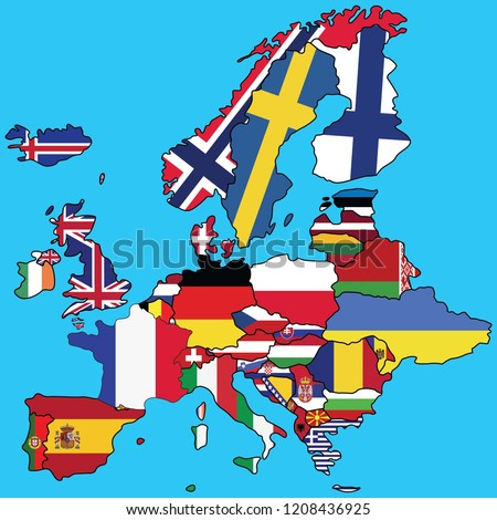 Map Europe Colored Flags Each Country Stock Vector (Royalty Free ...