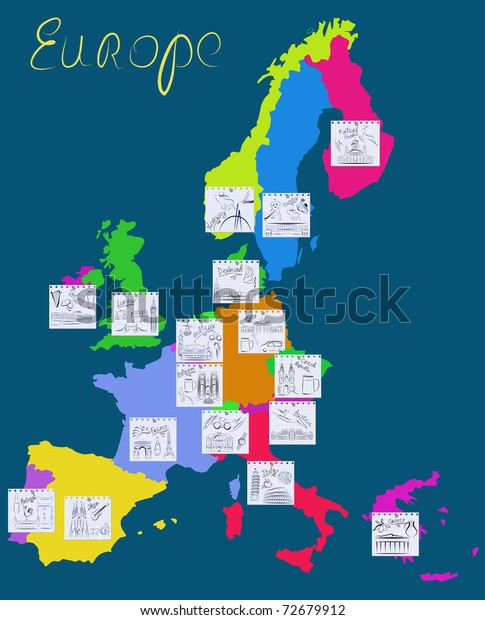 Map Europe Countries Marked Pinned Notebook Stock Vector ...
