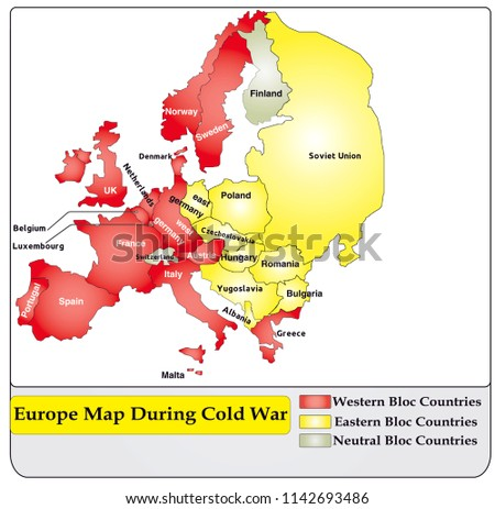 Map Europe During Cold War Stock Vector Royalty Free 1142693486