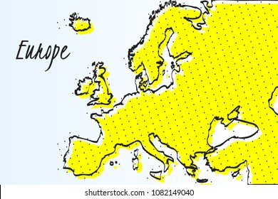 Map of Europe, halftone abstract background. The black dots on a yellow background. drawn border line. vector illustration