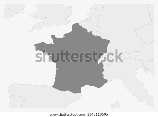 Map Of Europe With France Highlighted.Map Europe Highlighted France Map Gray Stock Vector Royalty