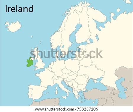 Ireland Map Of Europe.Map Europe Ireland Stock Vector Royalty Free 758237206 Shutterstock