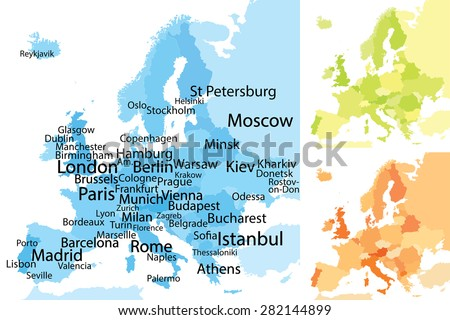 Map Of Europe And Major Cities.Map Europe Largest Cities Carefully Scaled Stock Vector Royalty