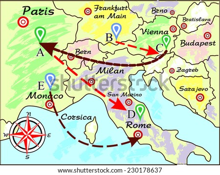 Map Europe Made Style Drawing Stock Vector Royalty Free 230178637