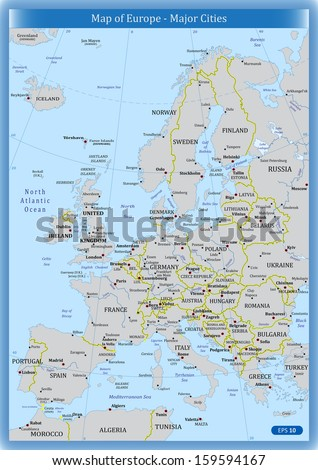 Map Of Europe And Major Cities.Map Europe Major Cities Stock Vector Royalty Free 159594167
