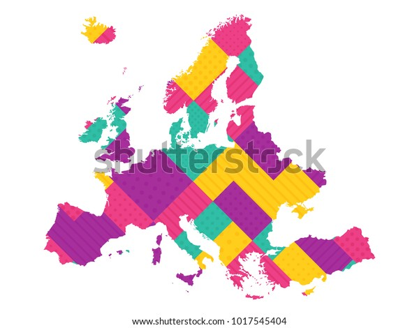 Map Europe Modern Geometric Dots Lines Stock Vector (Royalty Free ...