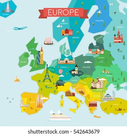 Map of Europe with Name of the Countries. Travel and tourism background. Vector flat illustration