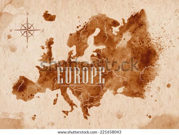 Mapa de Europa en estilo antiguo, gráficos marrones en estilo retro