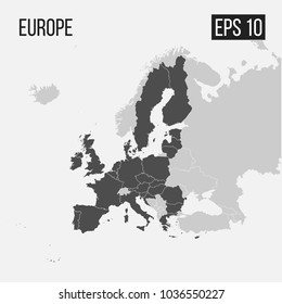 map of Europe with regions EPS 10