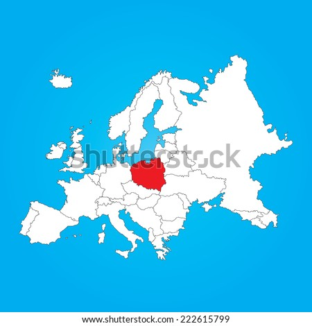 Map Europe Selected Country Poland Stock Vector Royalty Free