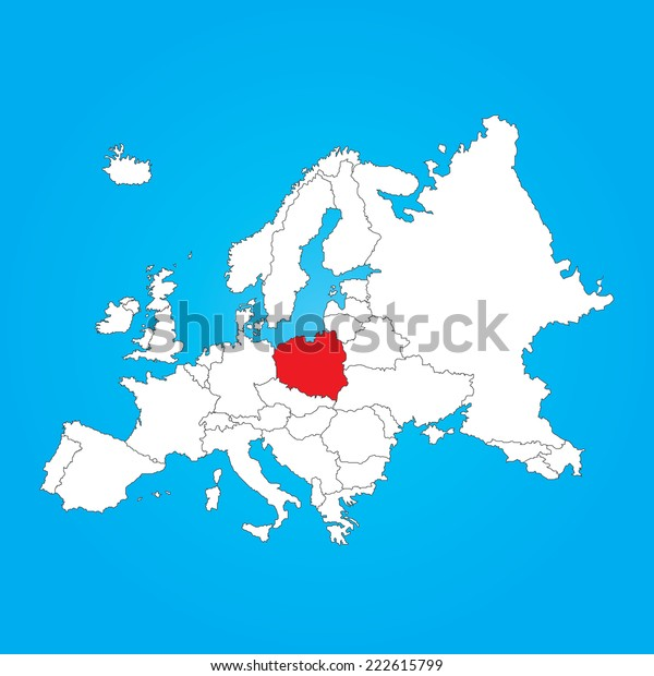Map Europe Selected Country Poland Stock Vector (Royalty ...