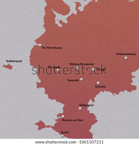 Map European Russia World Cup 2018 Stock Vector Royalty Free