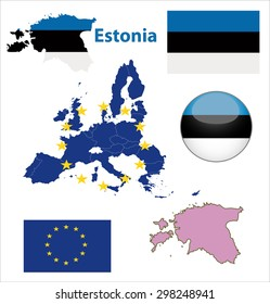Map of European Union countries, with every state easy selectable and editable. Estonia. Vector - Estonia Flag Glossy Button