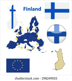 Map of European Union countries, with every state easy selectable and editable. Finland. Vector - Finland Flag Glossy Button