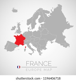 Map of European Union with the identication of France. Map of France. Political map of Europe in gray color. European Union countries. Vector stock.