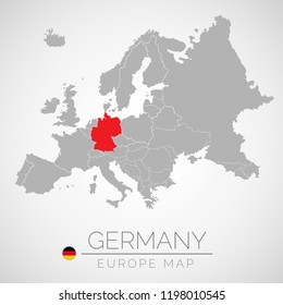 Map of European Union with the identication of Germany. Map of Germany. Political map of Europe in gray color. European Union countries. Vector stock.