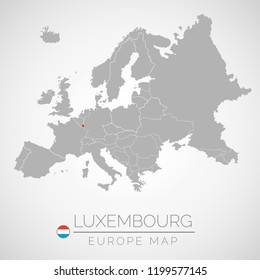 Map of European Union with the identication of Luxembourg. Map of Luxembourg. Political map of Europe in gray color. European Union countries. Vector stock.