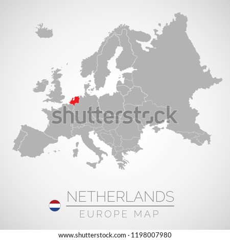 Map European Union Identication Netherlands Map Stock Vector