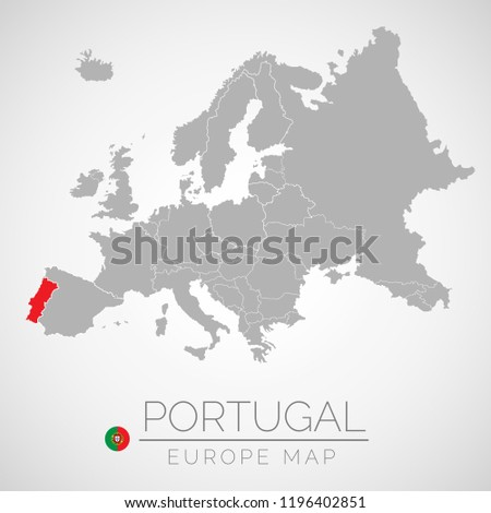 Map European Union Identication Portugal Map Stock Vector Royalty