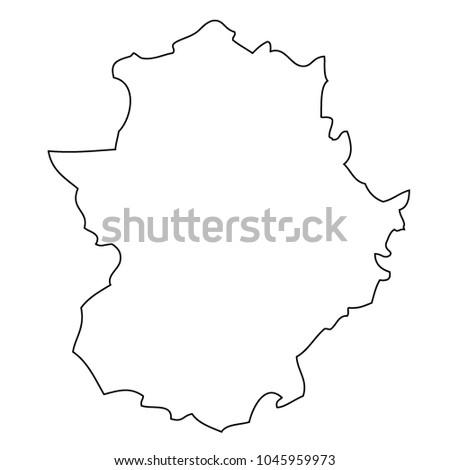 Map Of Spain Extremadura.Map Extremadura Spain Vector Stock Vector Royalty Free 1045959973