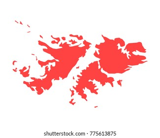 Map of Falkland Islands - High detailed red map on white background. Abstract design vector illustration eps 10.