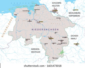 Map of the federal state of Niedersachsen (Lower Saxony) - Germany